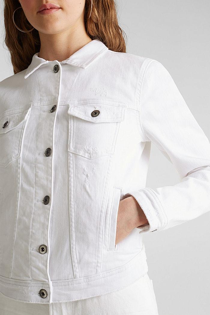 Stretch denim jacket, WHITE, detail image number 2