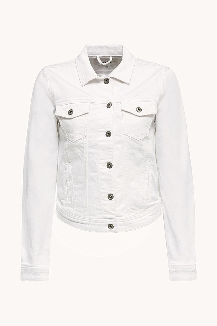Stretch denim jacket, WHITE, detail image number 6