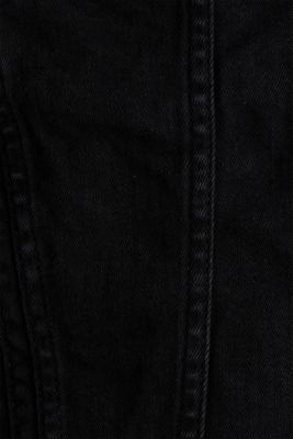 Super stretch denim jacket with a vintage finish, BLACK DARK WASH, detail