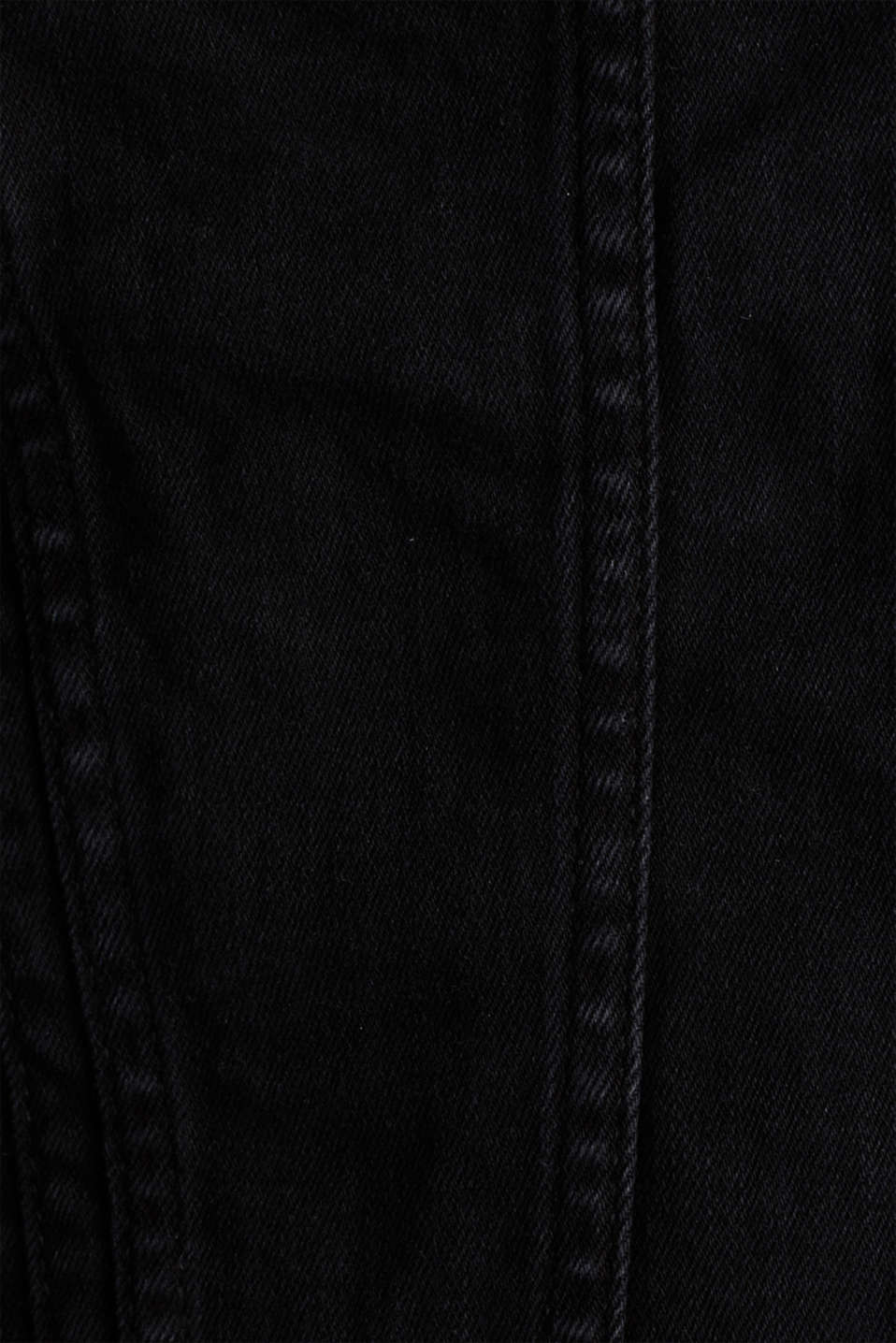 Super stretch denim jacket with a vintage finish, BLACK DARK WASH, detail image number 4