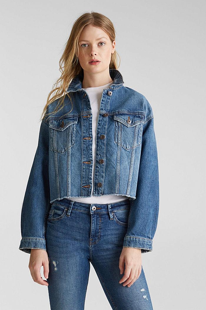 Denim jacket with a modern vintage finish, BLUE MEDIUM WASHED, detail image number 0