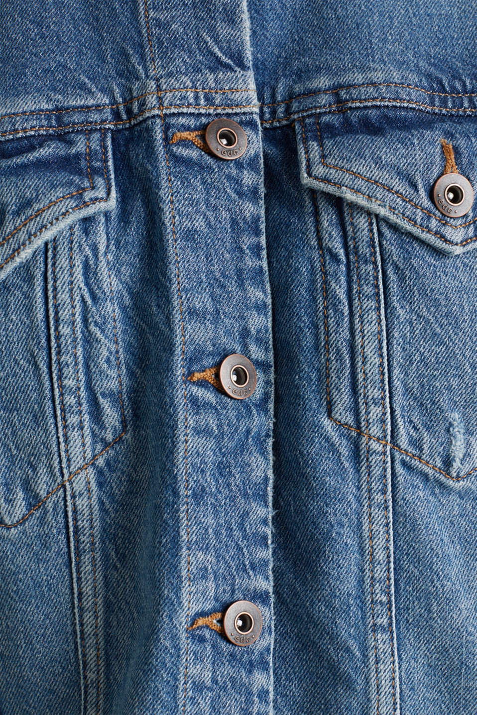 Denim jacket with a modern vintage finish, BLUE MEDIUM WASH, detail image number 4