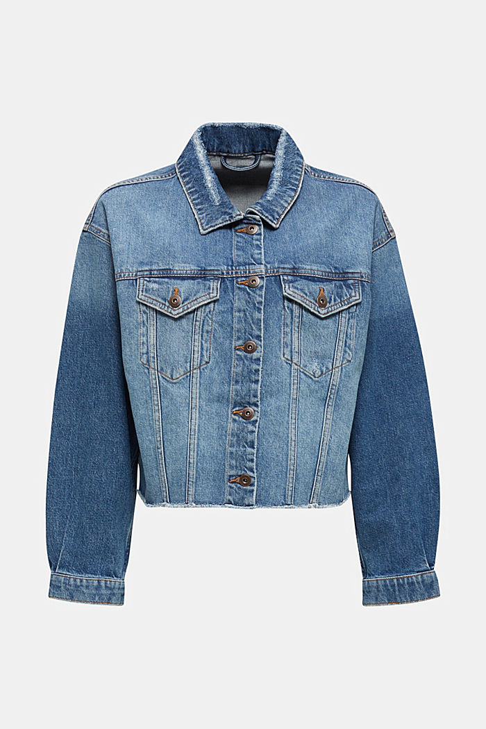 Jeans-Jacke im modernen Used-Look, BLUE MEDIUM WASHED, overview