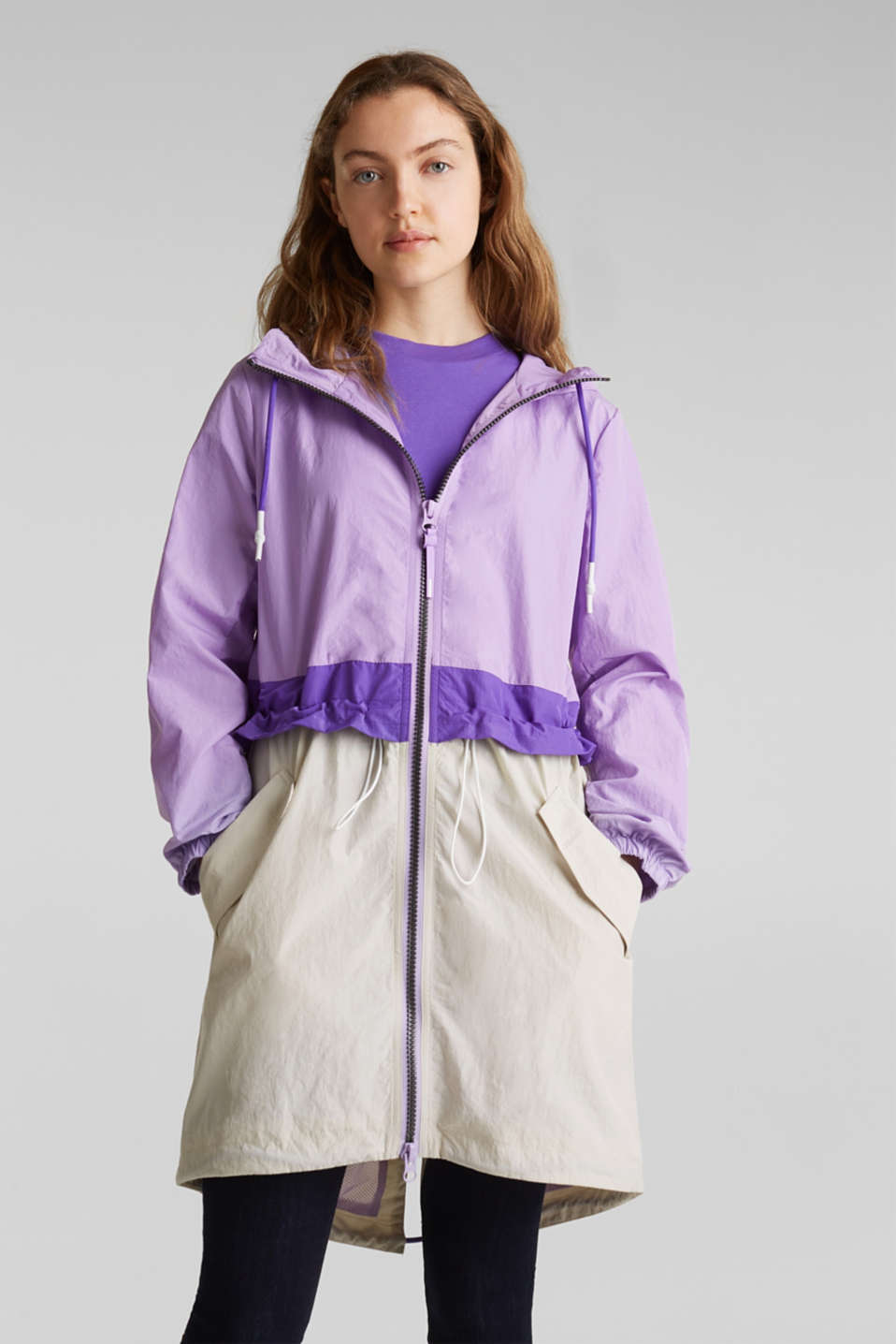 Colour block parka with mesh lining, LILAC, detail image number 0