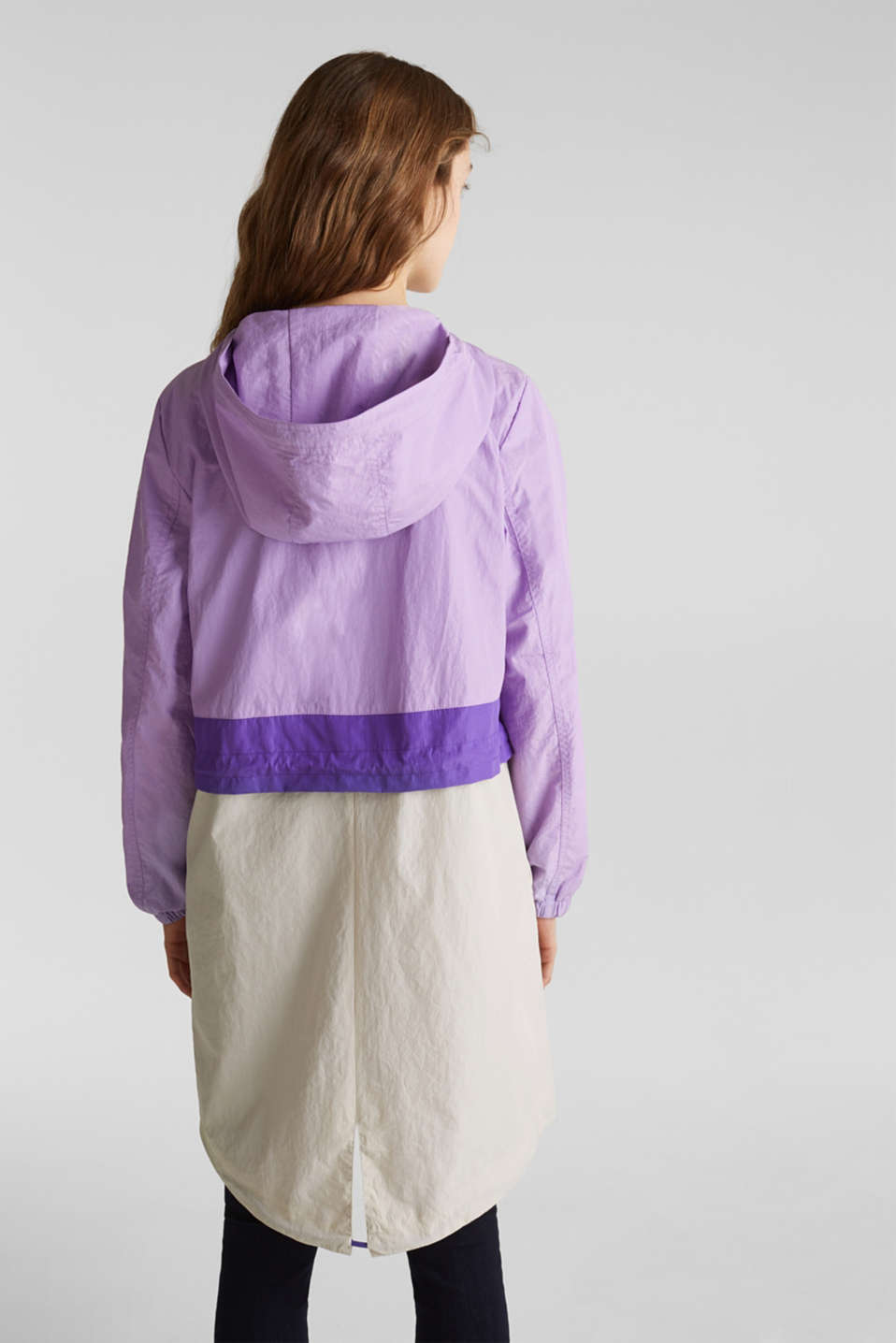 Colour block parka with mesh lining, LILAC, detail image number 3