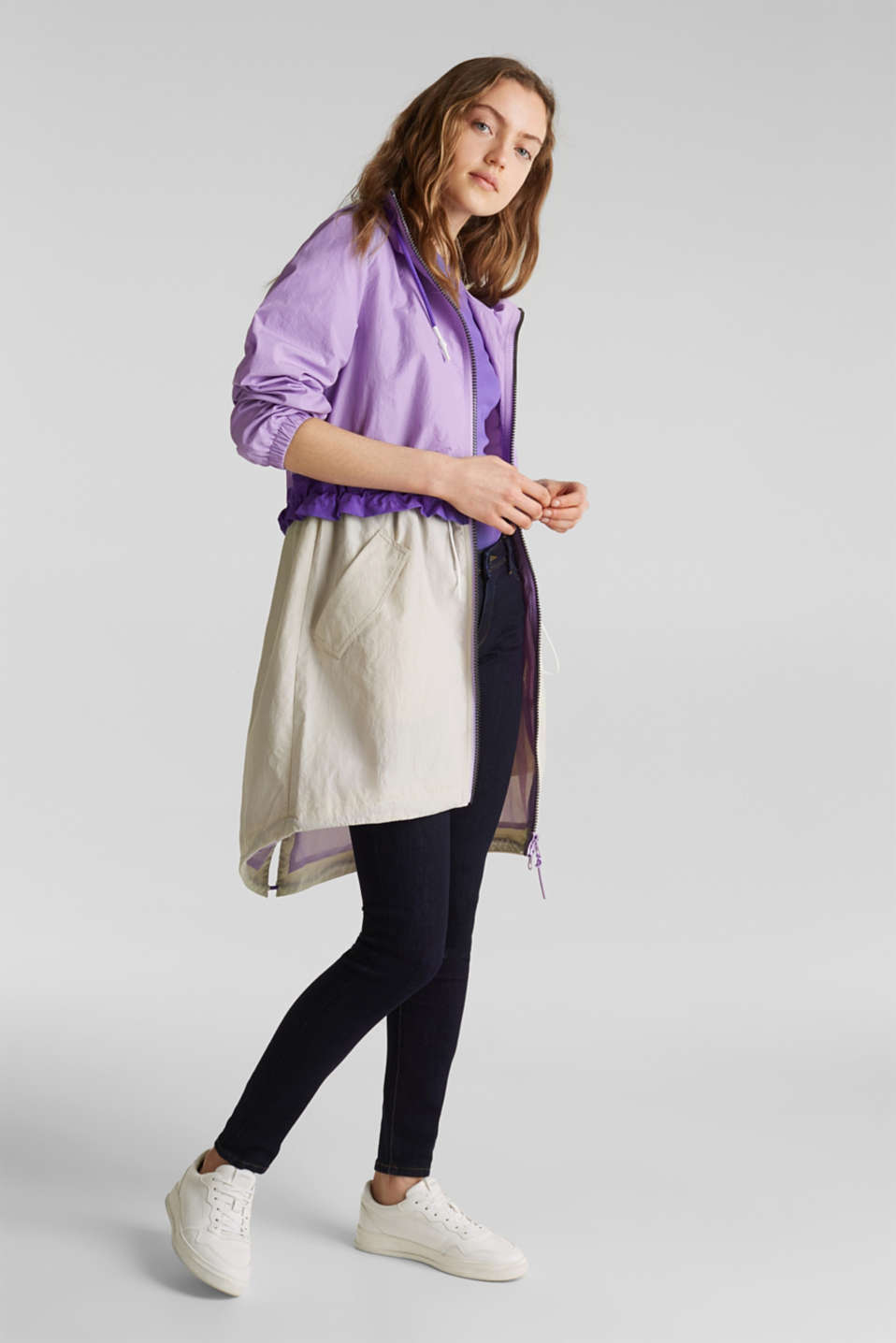 Colour block parka with mesh lining, LILAC, detail image number 1