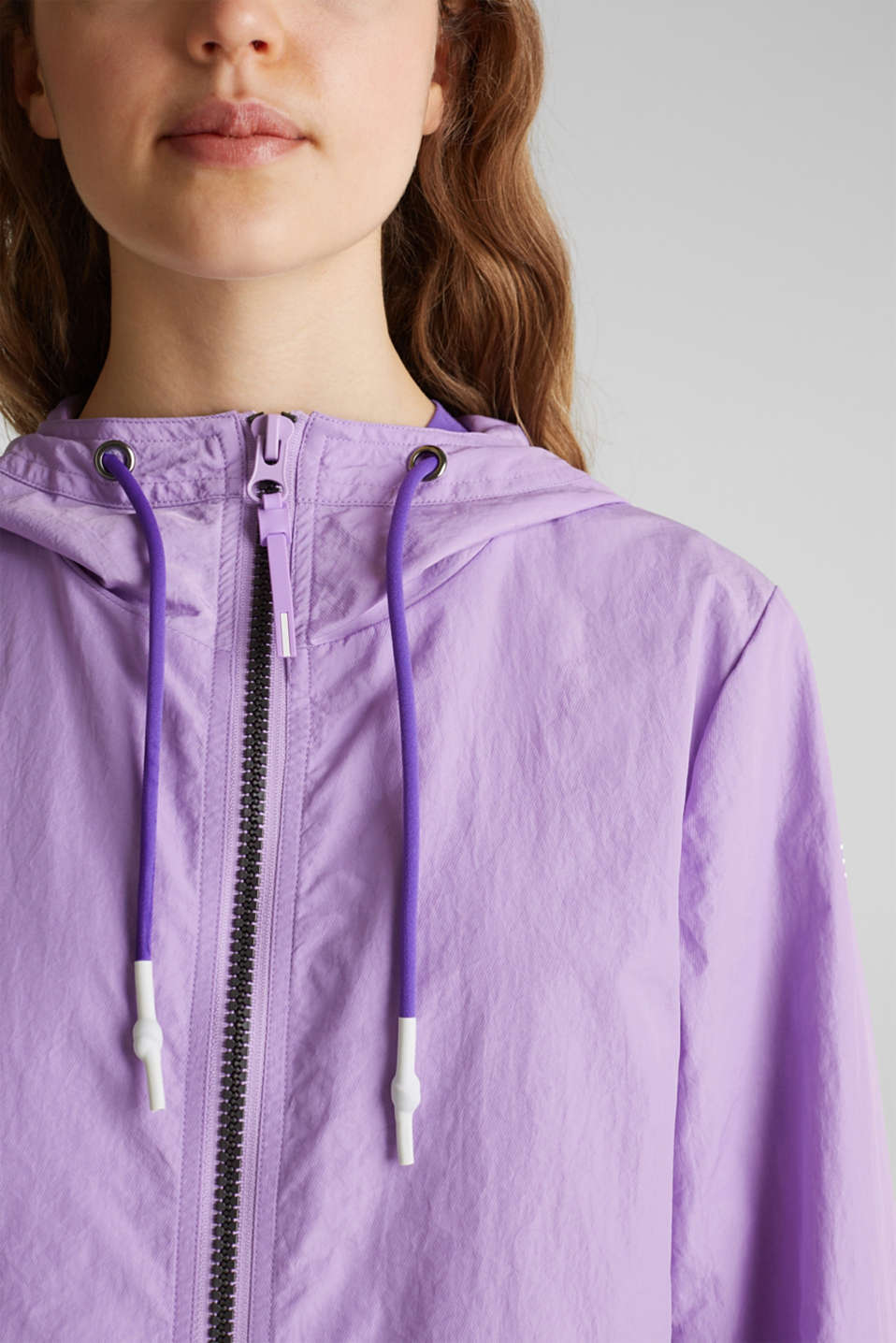 Colour block parka with mesh lining, LILAC, detail image number 2