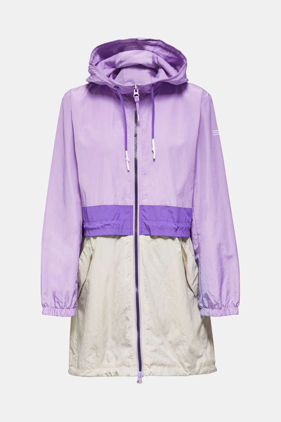 Colour block parka with mesh lining, LILAC, detail image number 7