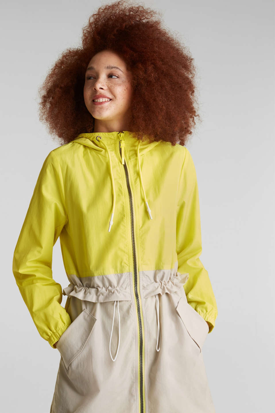 Colour block parka with mesh lining, LIME YELLOW, detail image number 0