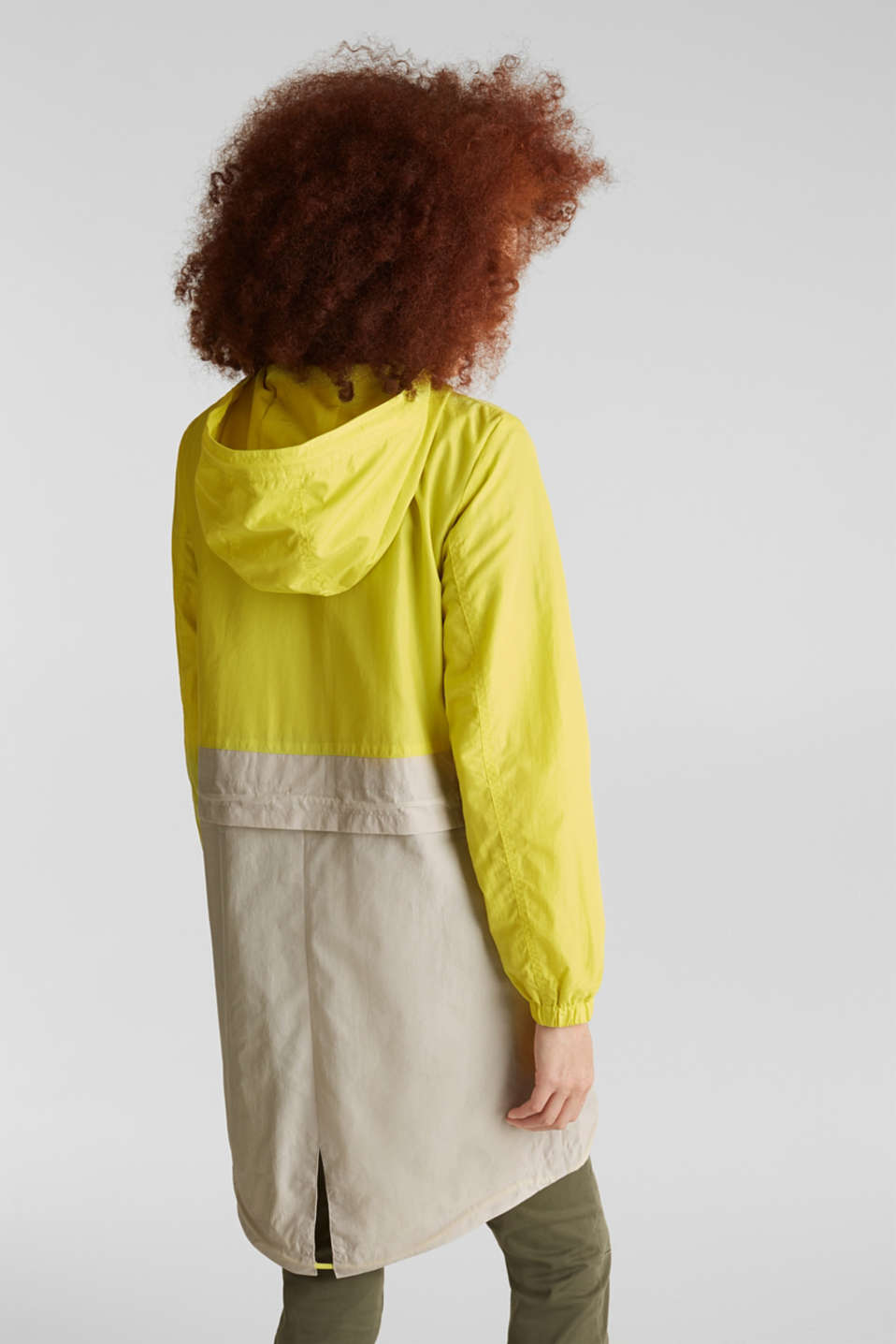 Colour block parka with mesh lining, LIME YELLOW, detail image number 3