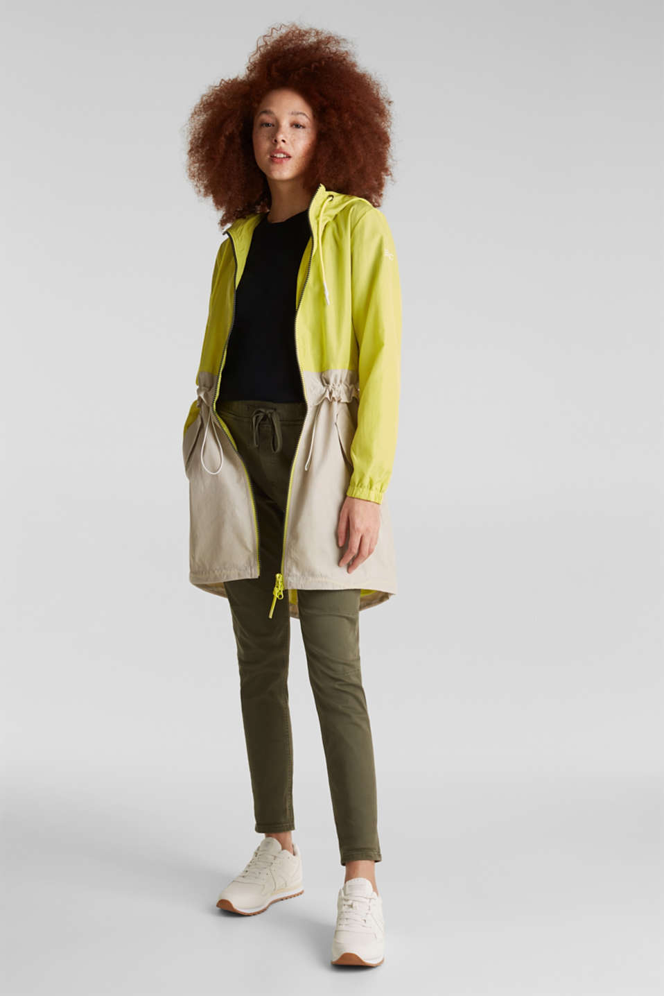 Colour block parka with mesh lining, LIME YELLOW, detail image number 1