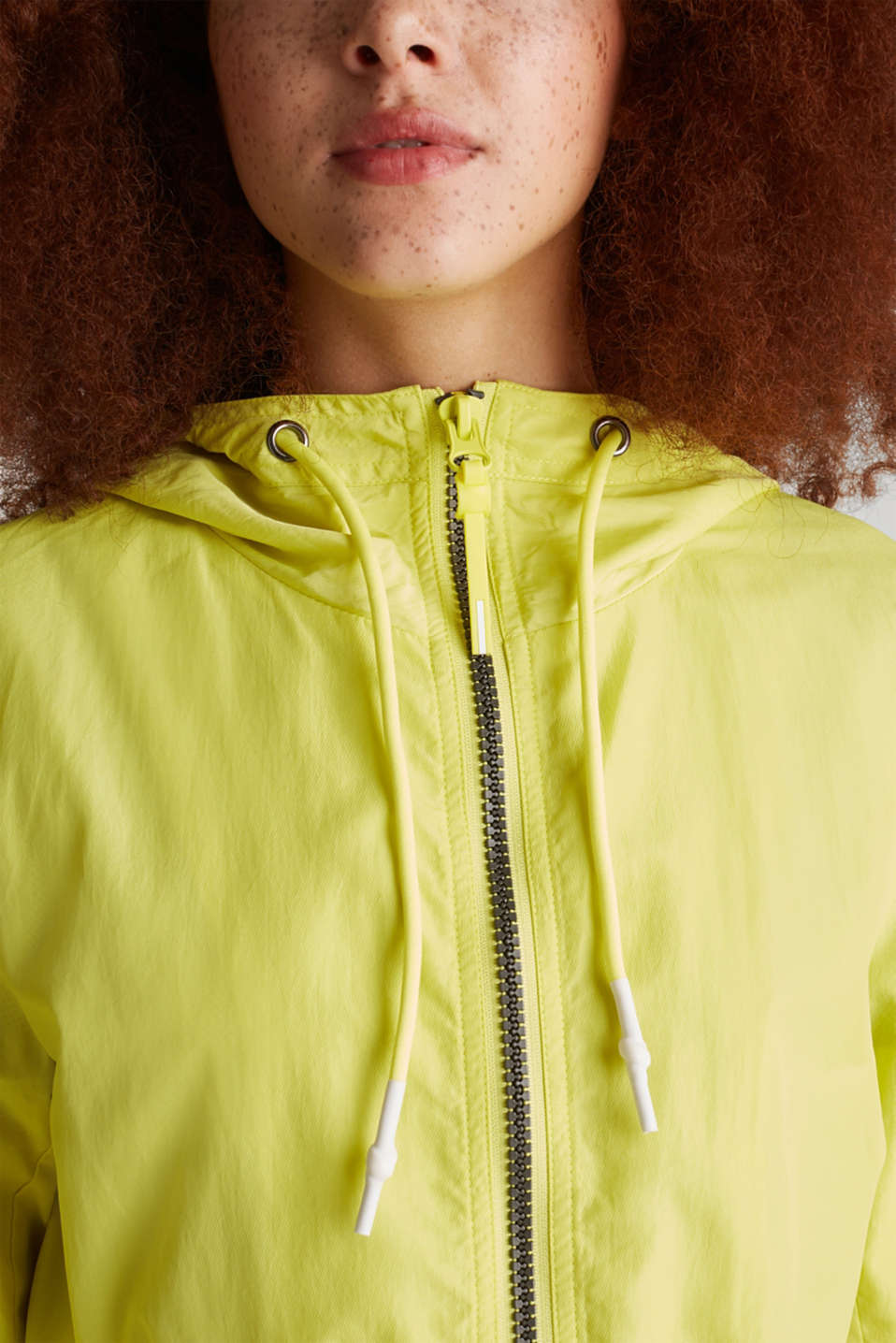 Colour block parka with mesh lining, LIME YELLOW, detail image number 2