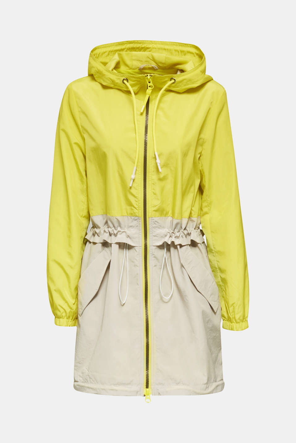 Colour block parka with mesh lining, LIME YELLOW, detail image number 5