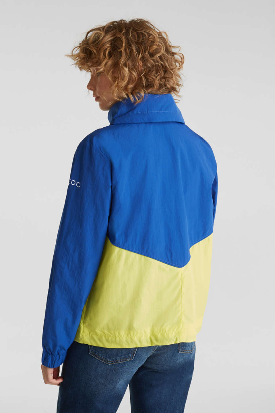 Colour block windbreaker with variable collar, BRIGHT BLUE, detail image number 3