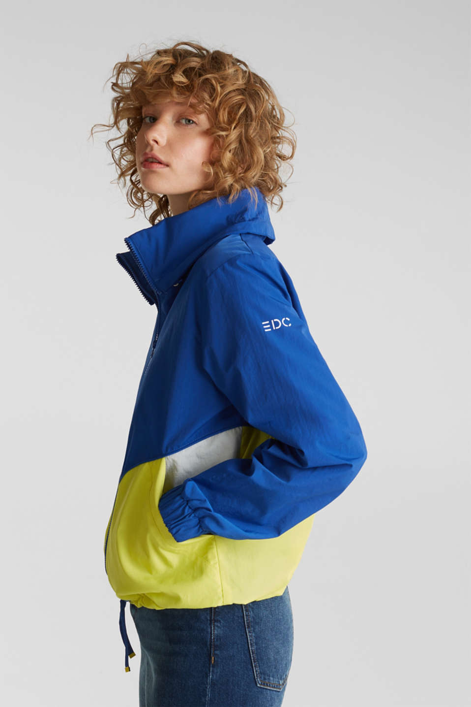 Colour block windbreaker with variable collar, BRIGHT BLUE, detail image number 5