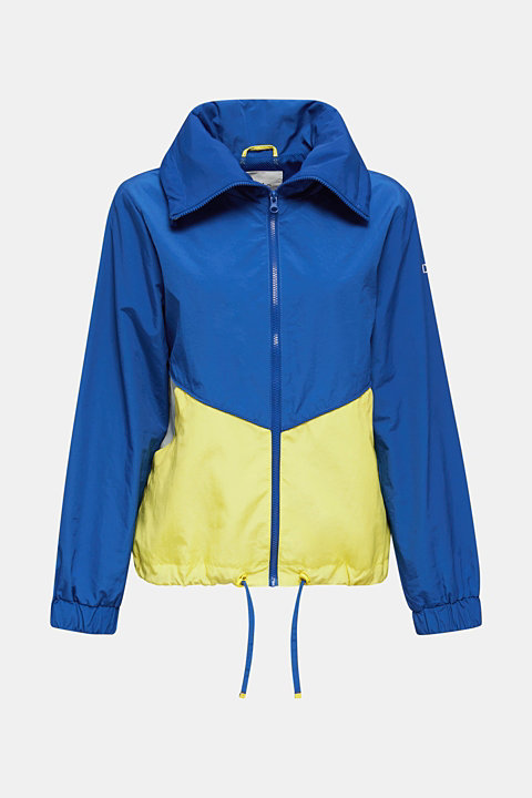 Colour block windbreaker with variable collar