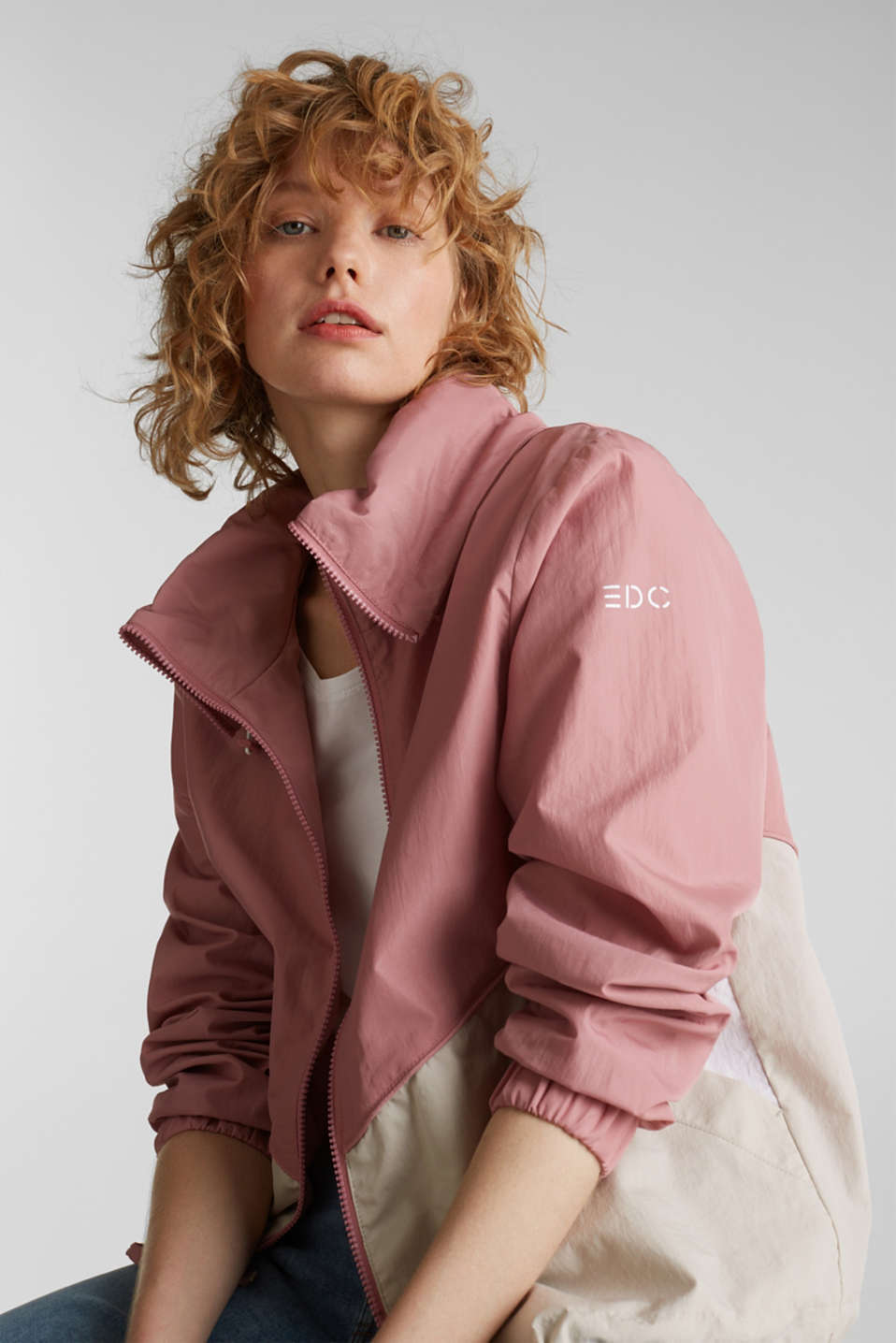 Colour block windbreaker with variable collar, BLUSH, detail image number 0