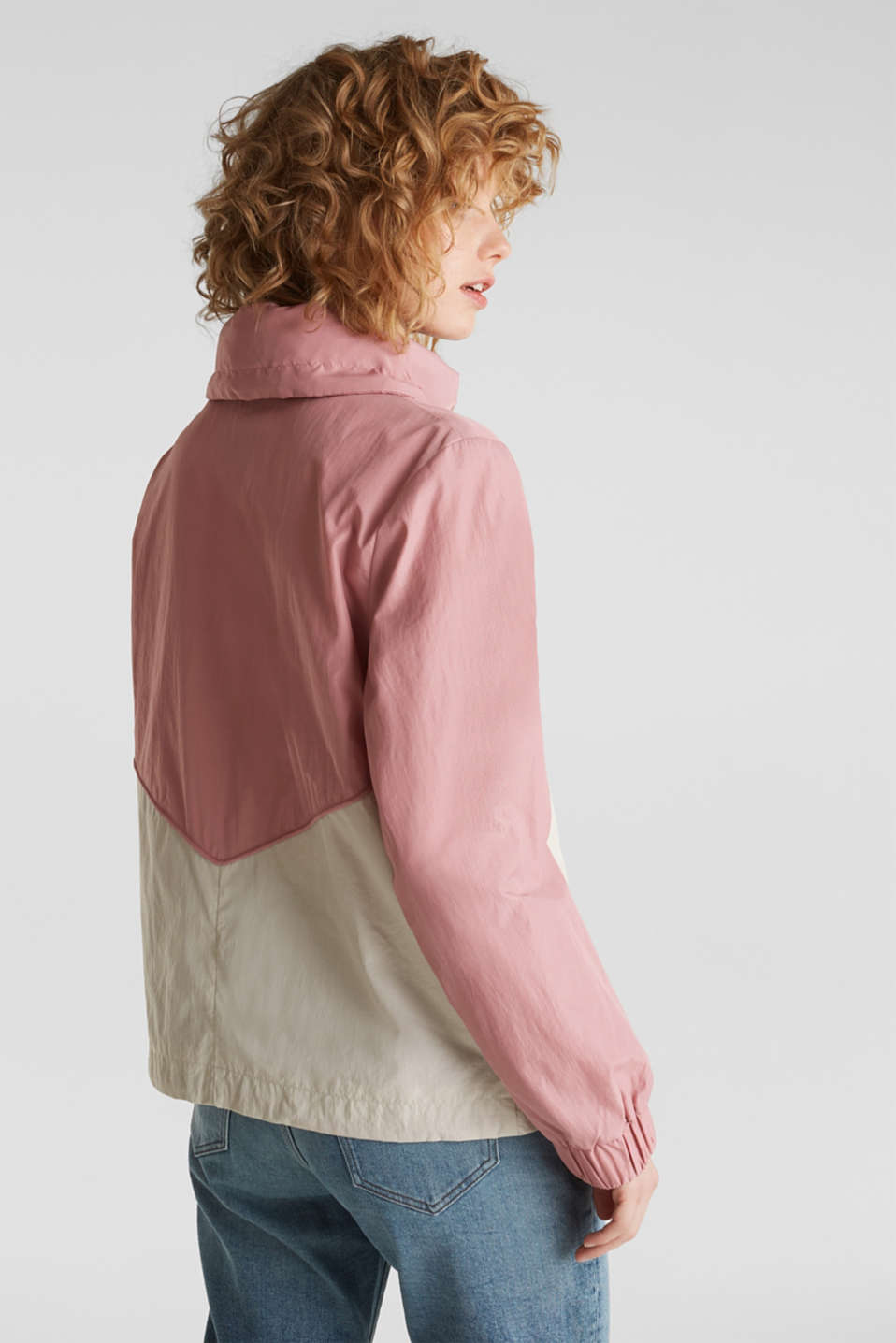 Colour block windbreaker with variable collar, BLUSH, detail image number 3
