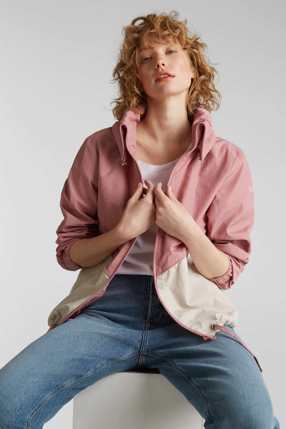 Colour block windbreaker with variable collar, BLUSH, detail image number 7