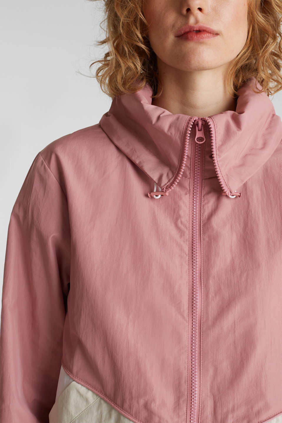 Colour block windbreaker with variable collar, BLUSH, detail image number 2