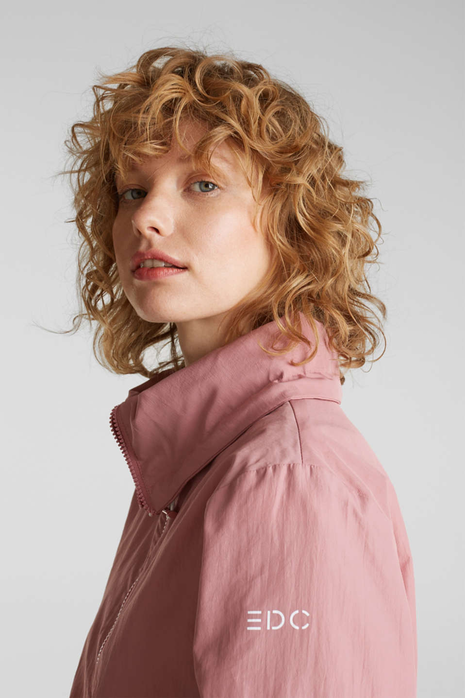 Colour block windbreaker with variable collar, BLUSH, detail image number 8