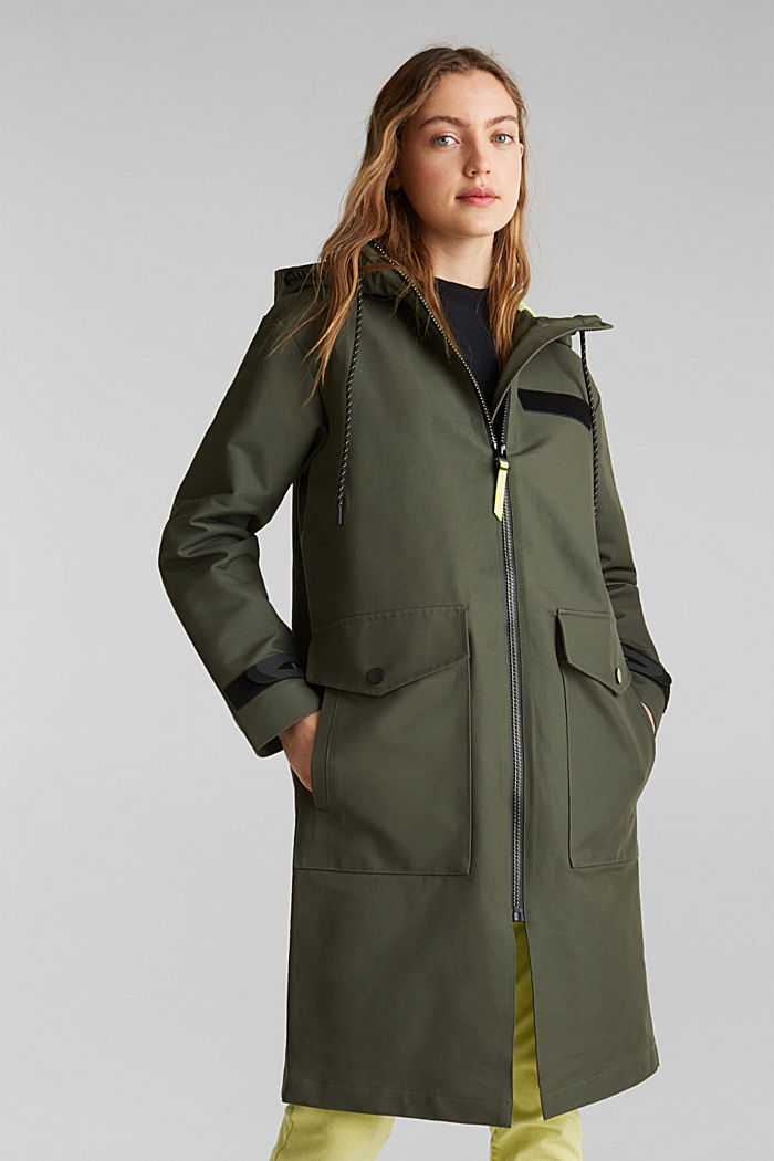 NEON coated cotton parka with mesh lining, KHAKI GREEN, detail image number 0