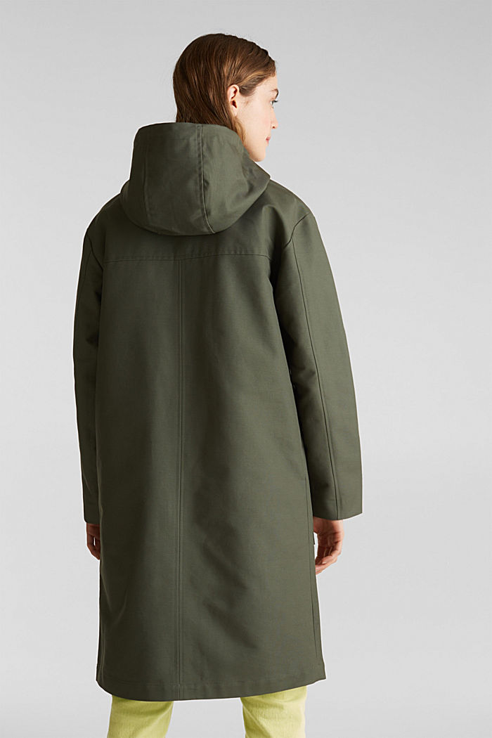 NEON coated cotton parka with mesh lining, KHAKI GREEN, detail image number 3