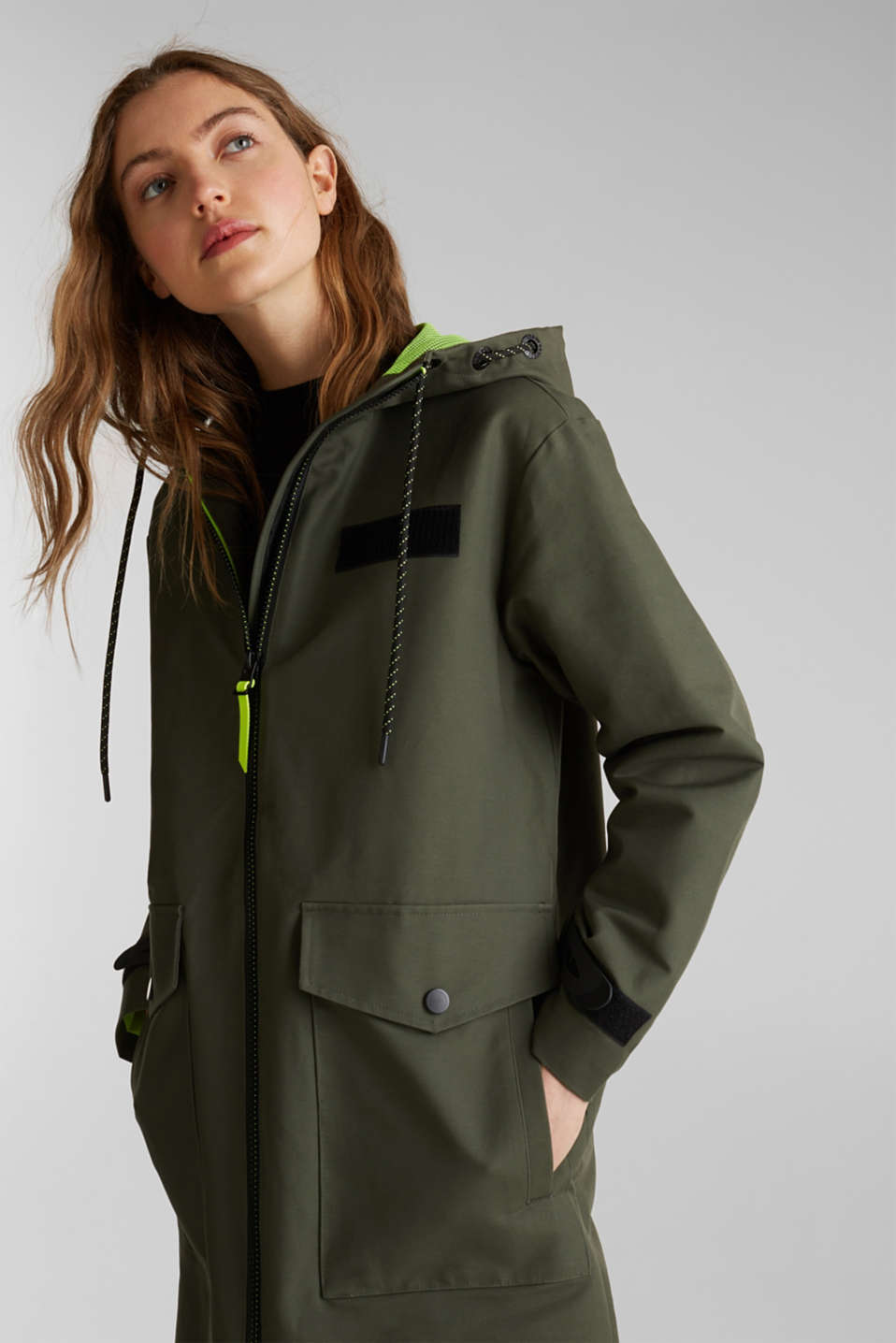 NEON coated cotton parka with mesh lining, KHAKI GREEN, detail image number 6