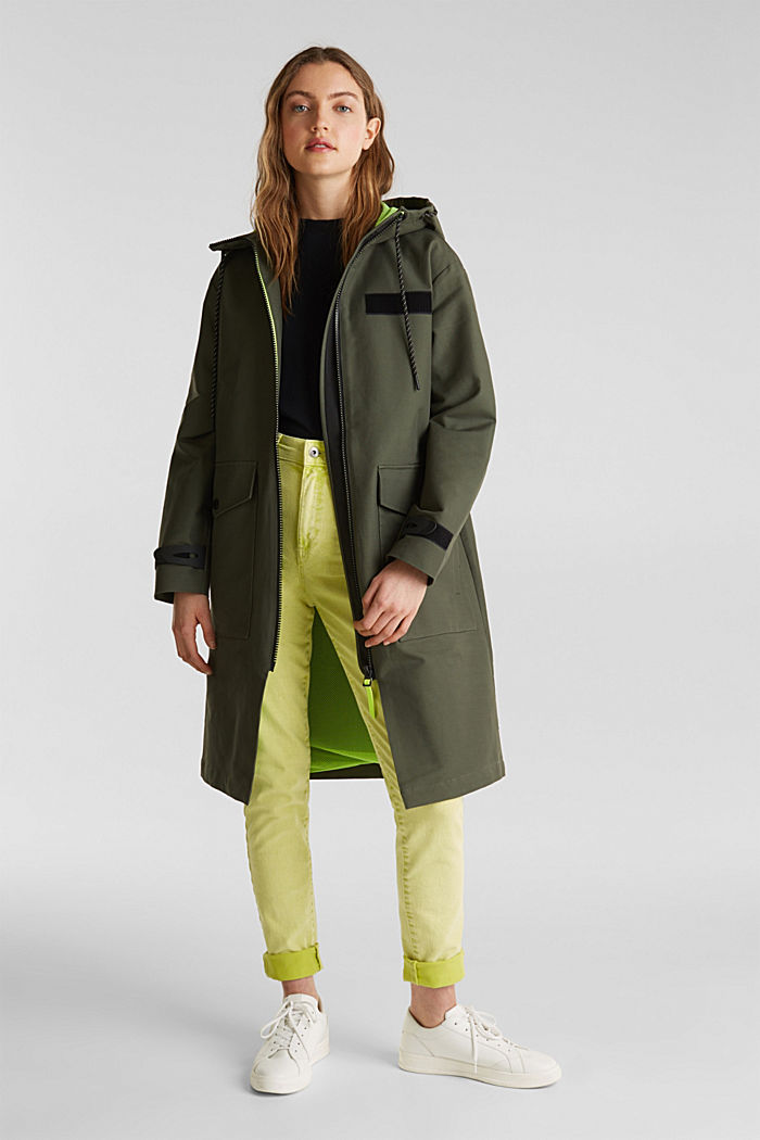 NEON coated cotton parka with mesh lining, KHAKI GREEN, detail image number 1