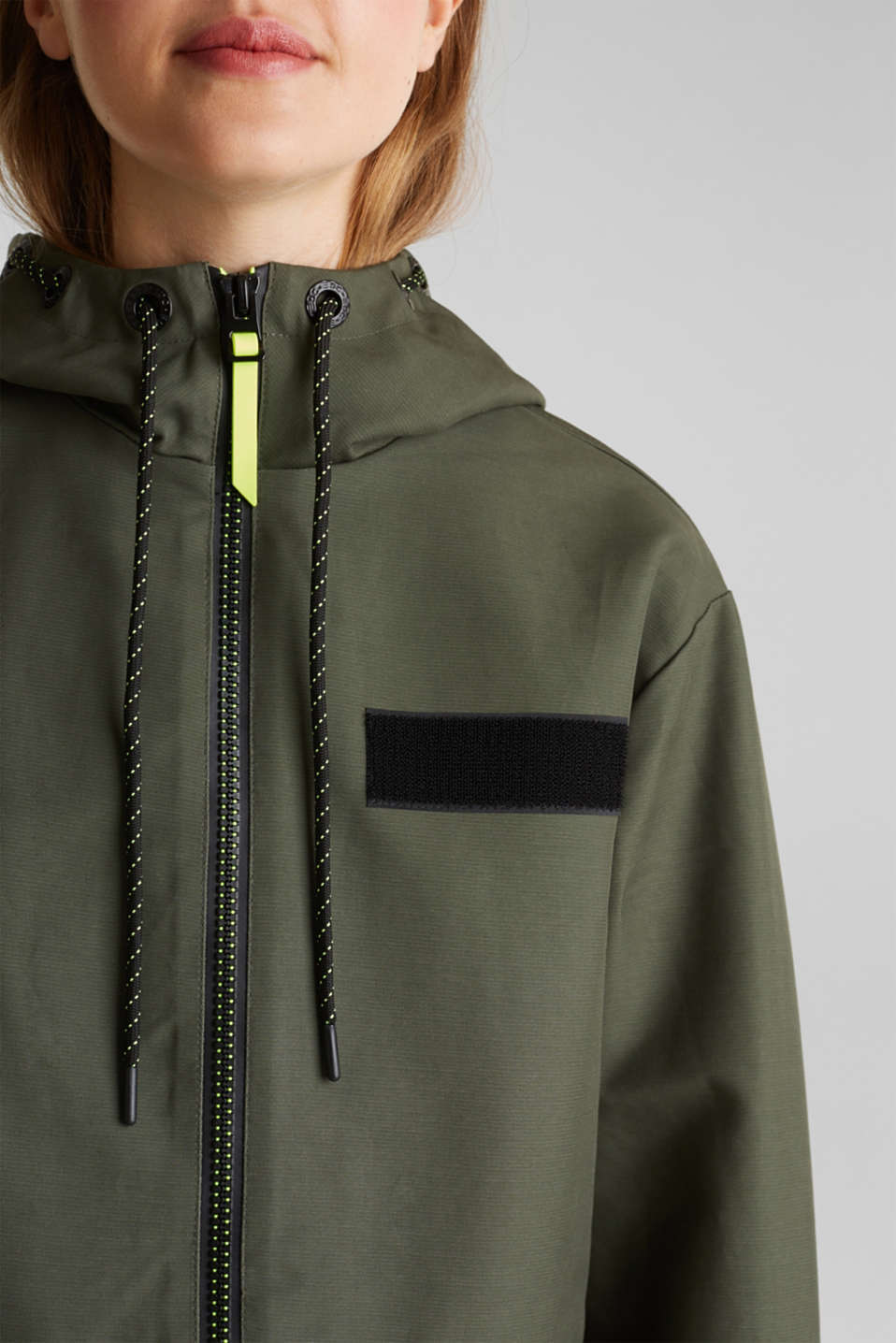 NEON coated cotton parka with mesh lining, KHAKI GREEN, detail image number 2