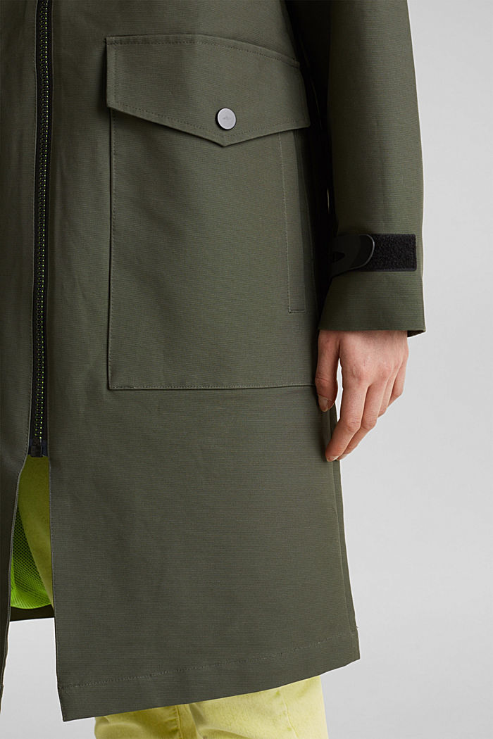 NEON coated cotton parka with mesh lining, KHAKI GREEN, detail image number 5