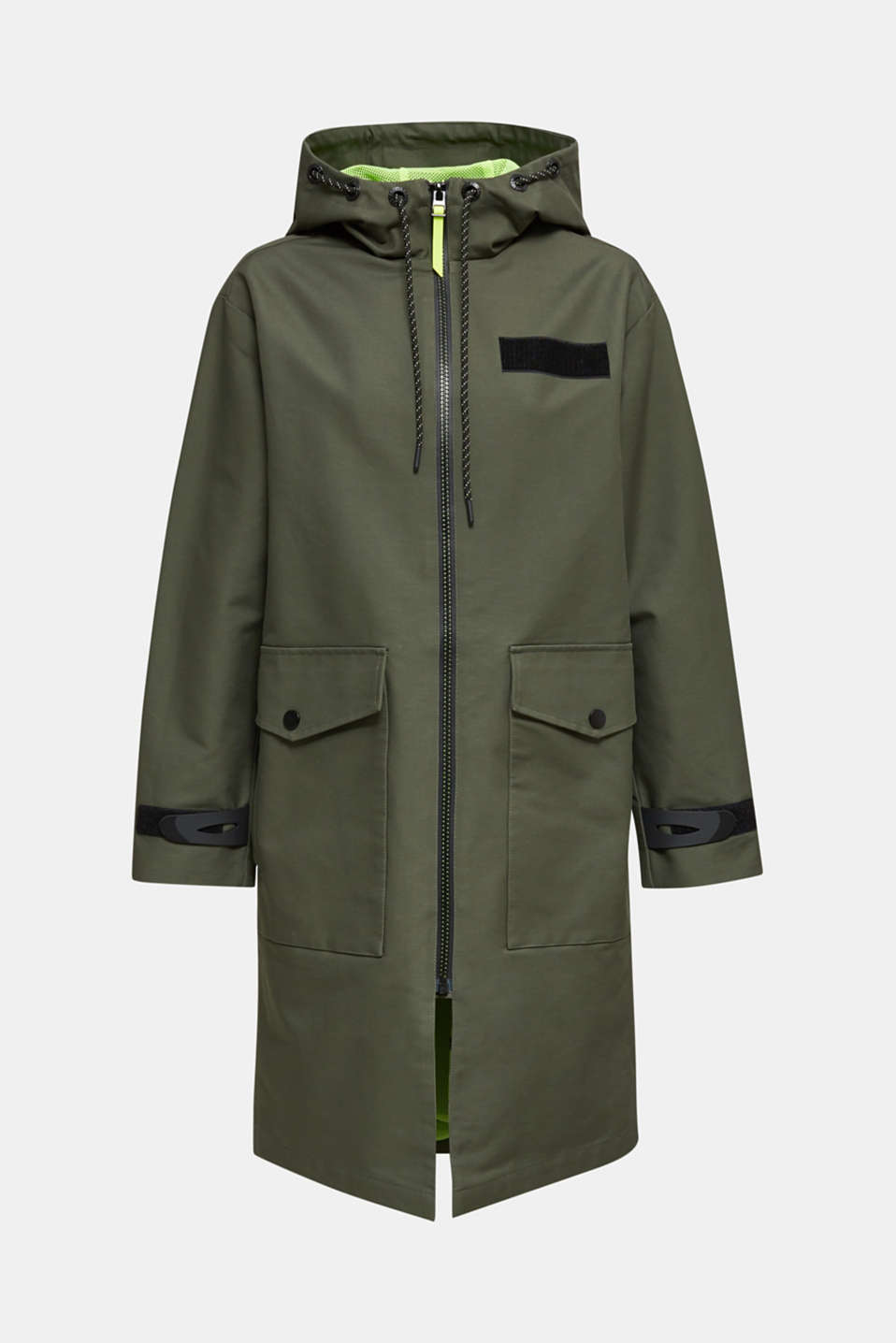 NEON coated cotton parka with mesh lining, KHAKI GREEN, detail image number 8