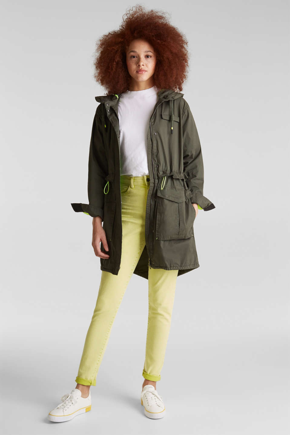 Parka with neon details, KHAKI GREEN, detail image number 0