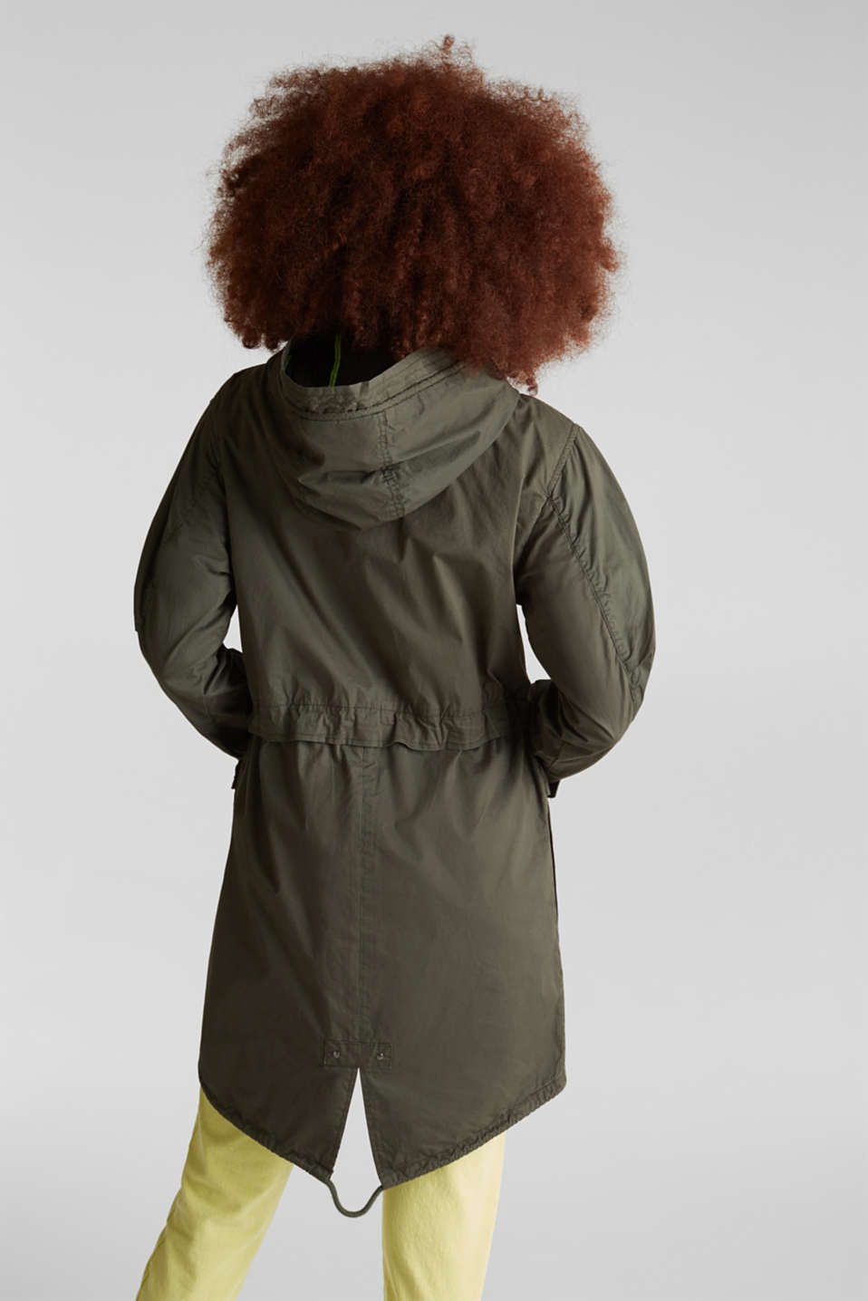 Parka with neon details, KHAKI GREEN, detail image number 3