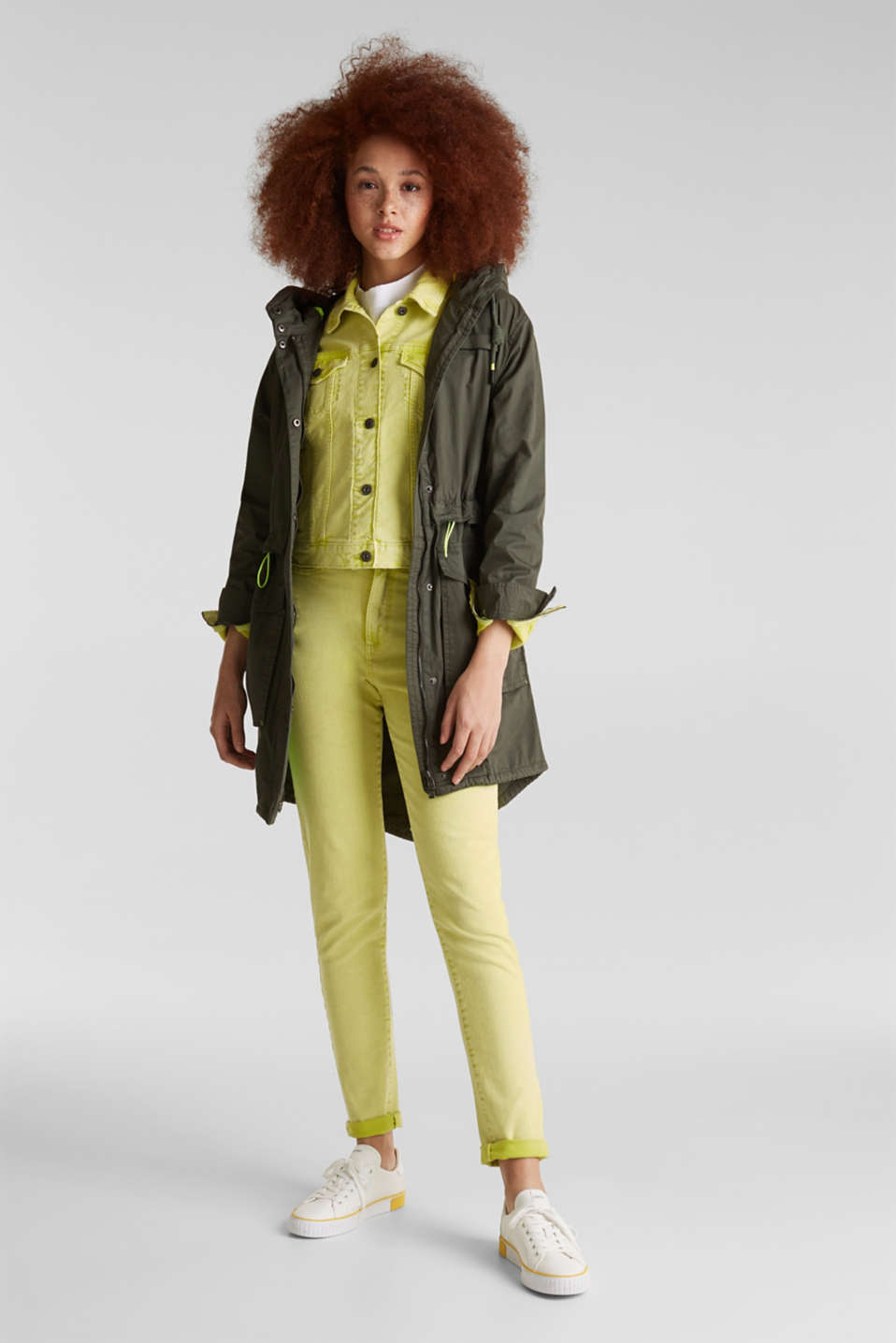 Parka with neon details, KHAKI GREEN, detail image number 1