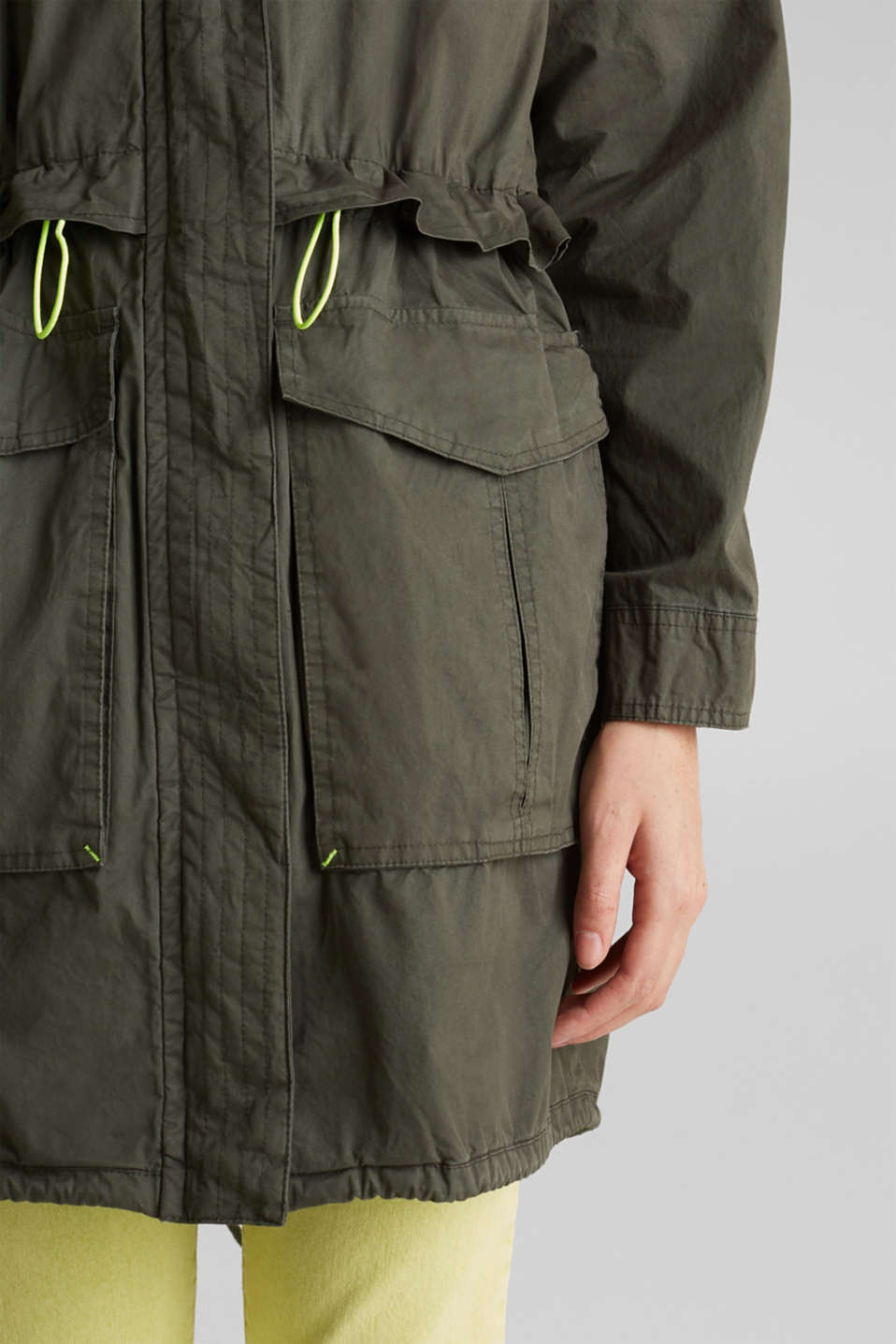 Parka with neon details, KHAKI GREEN, detail image number 2