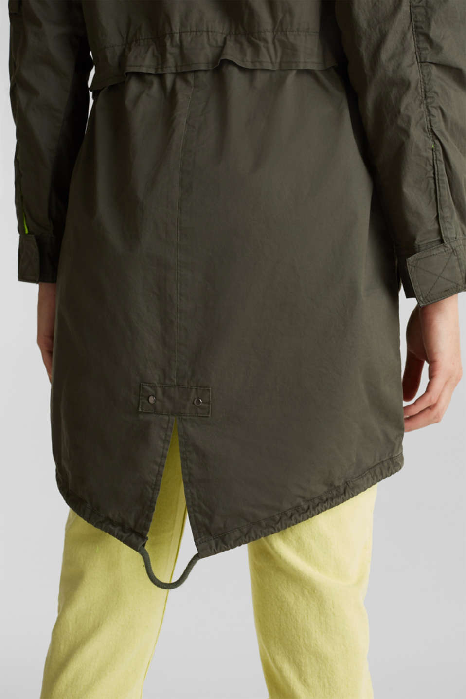 Parka with neon details, KHAKI GREEN, detail image number 5