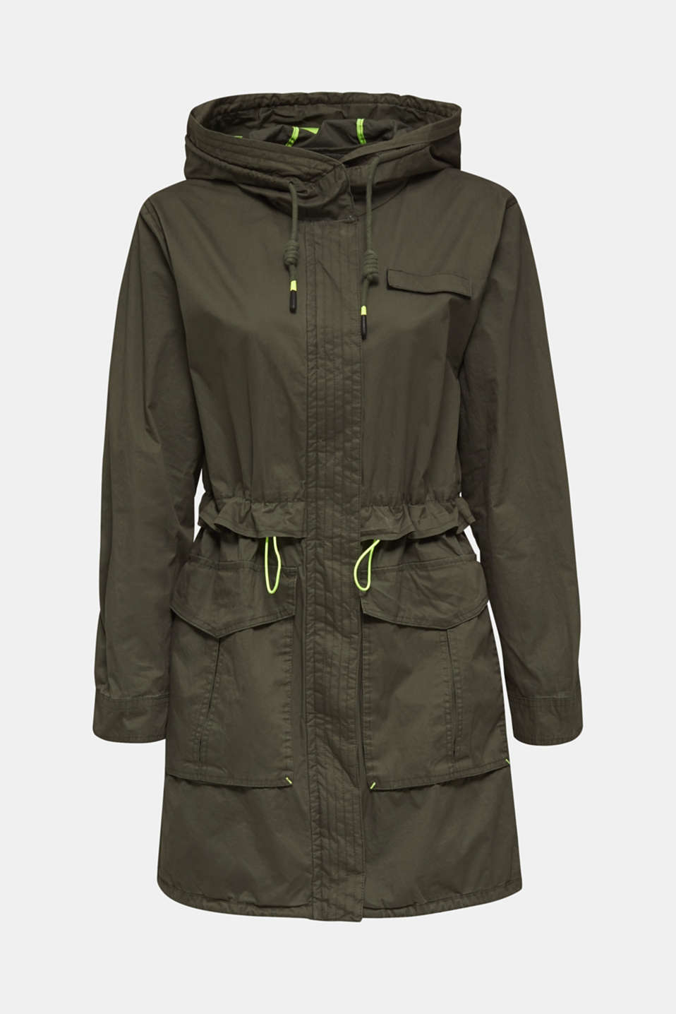 Parka with neon details, KHAKI GREEN, detail image number 6