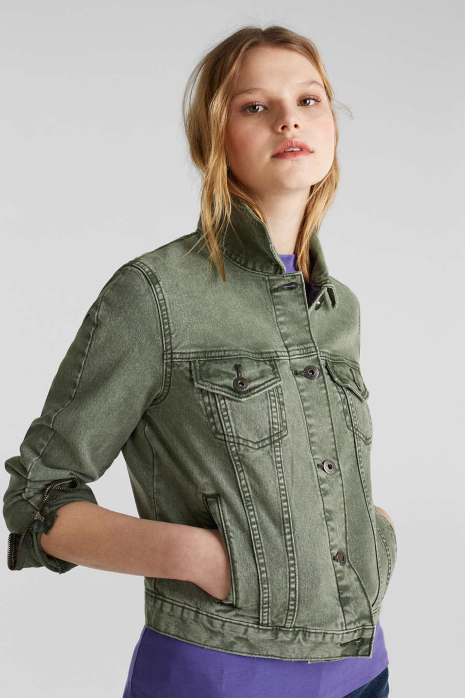 Acid wash jacket, KHAKI GREEN, detail image number 0