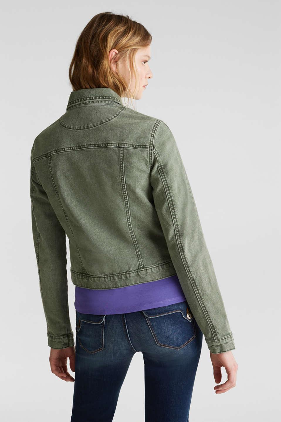 Acid wash jacket, KHAKI GREEN, detail image number 3