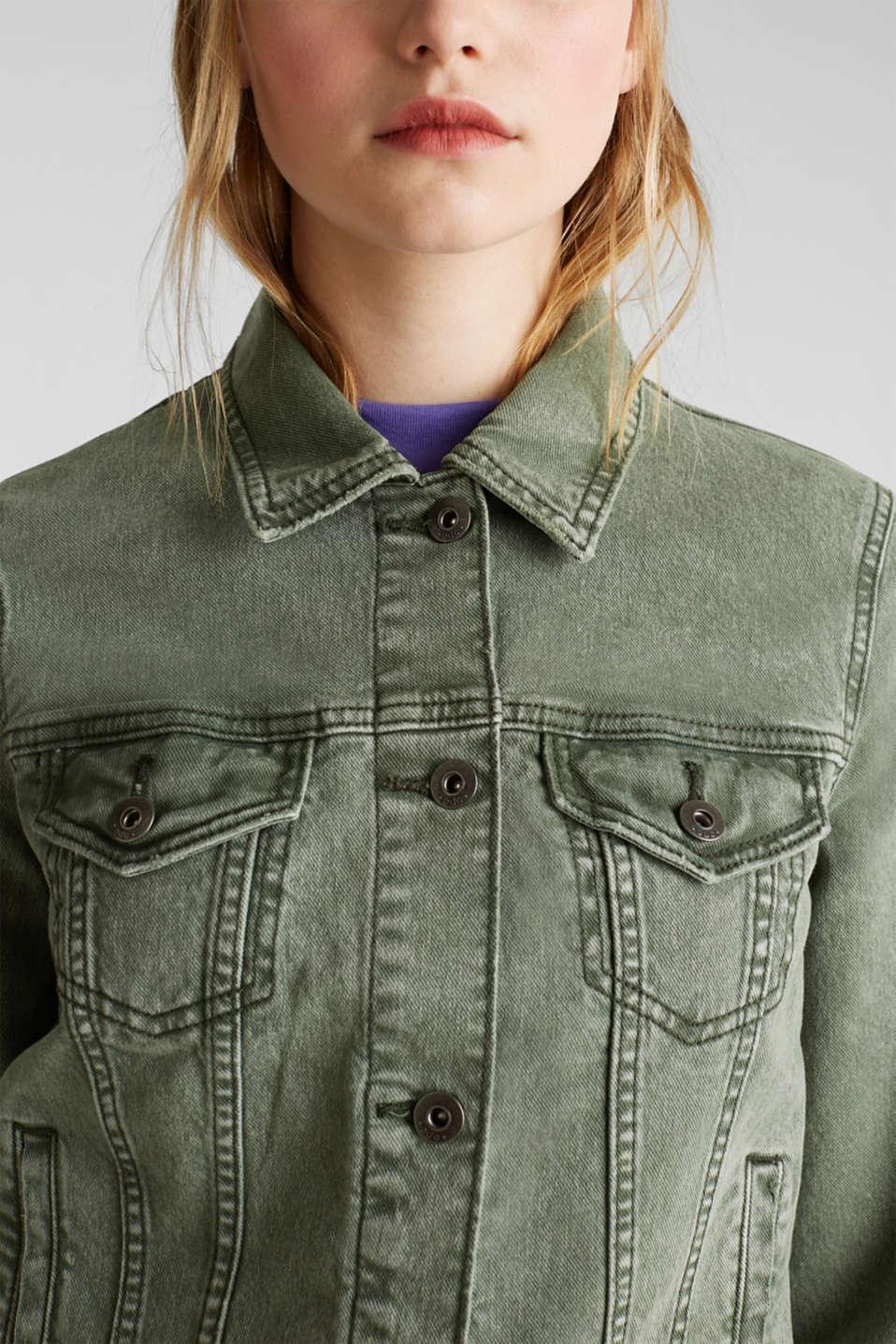 Acid wash jacket, KHAKI GREEN, detail image number 2
