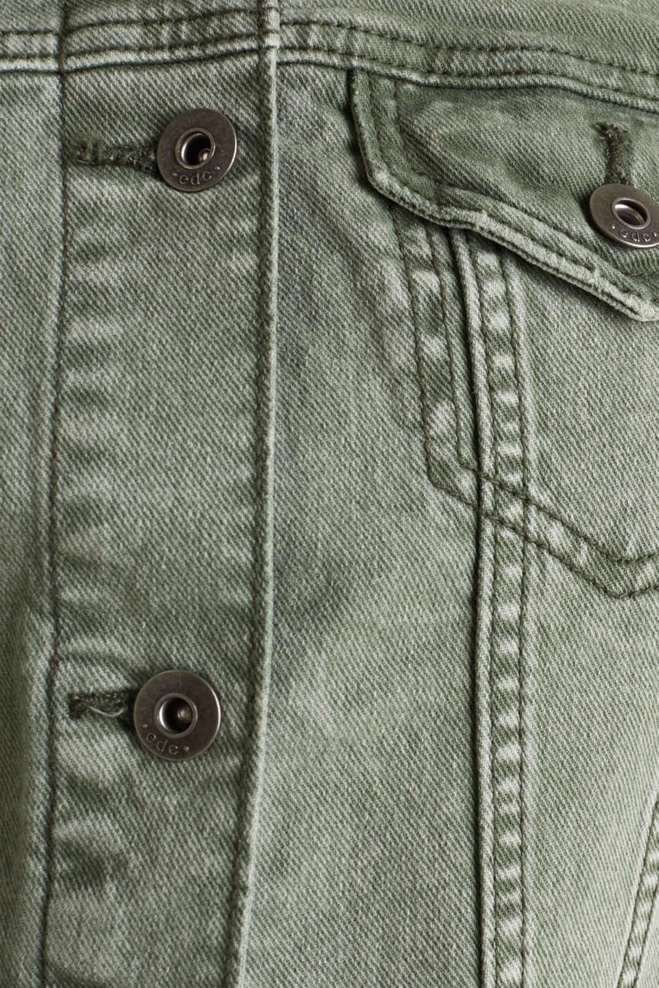 Acid wash jacket, KHAKI GREEN, detail image number 4