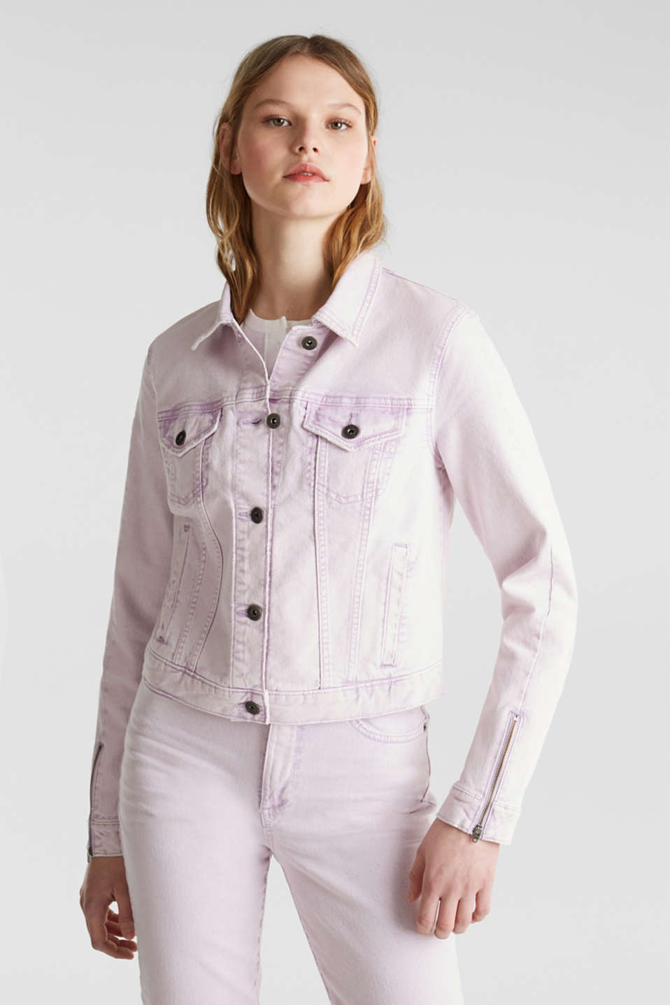 Acid wash jacket, LILAC, detail image number 0