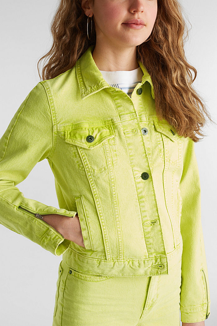 Acid wash jacket, LIME YELLOW, detail image number 1