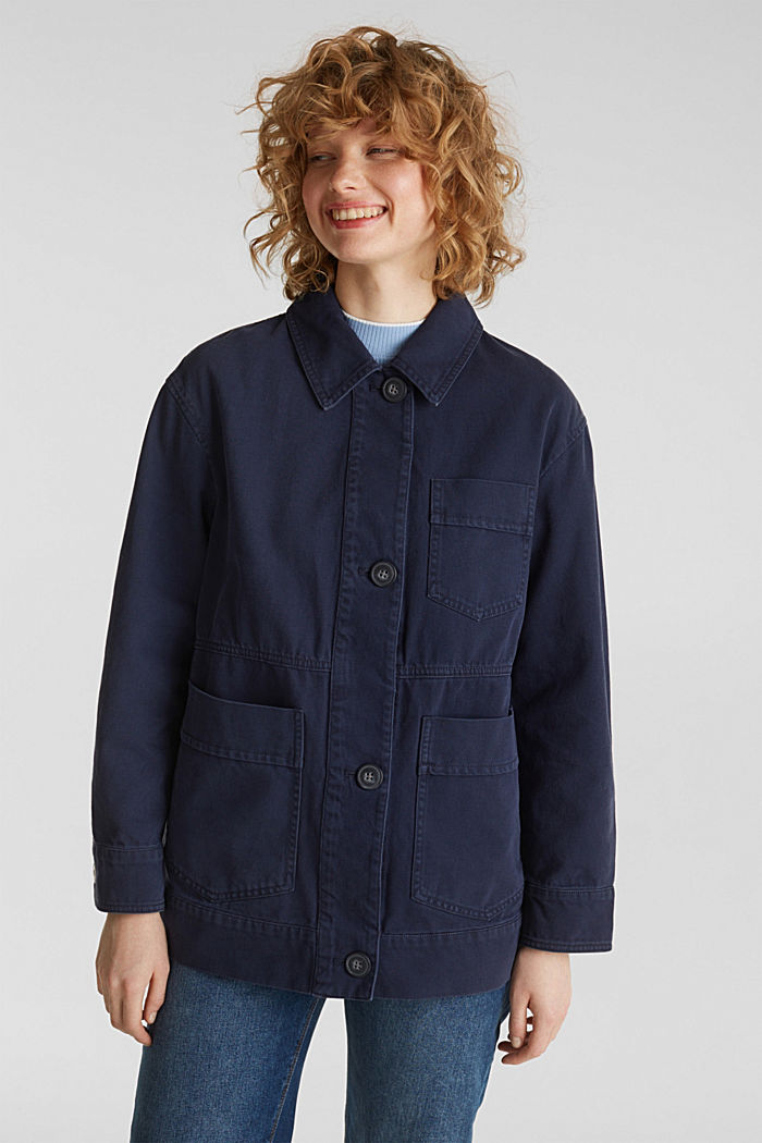 Worker jacket with pockets, 100% cotton, NAVY, detail image number 0