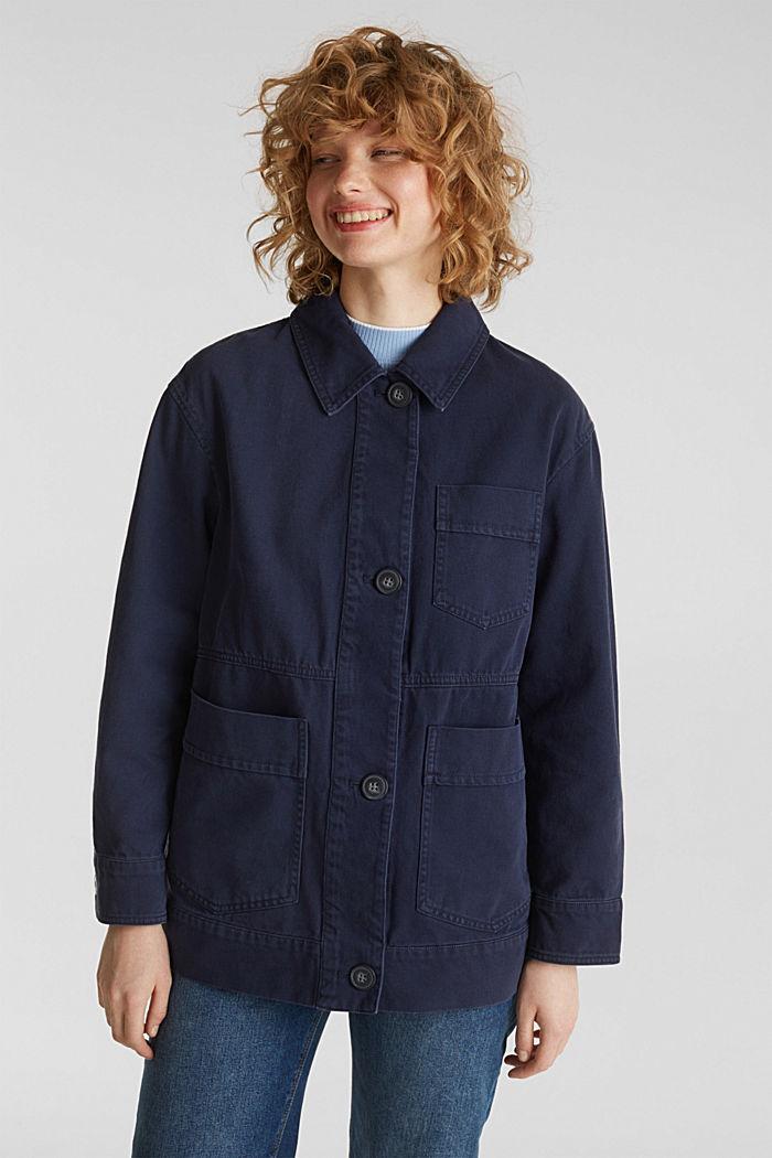 Worker-Jacke mit Taschen, 100% Baumwolle, NAVY, detail image number 0