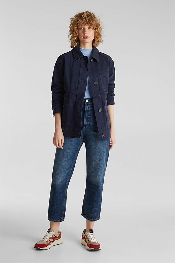 Worker-Jacke mit Taschen, 100% Baumwolle, NAVY, detail image number 1