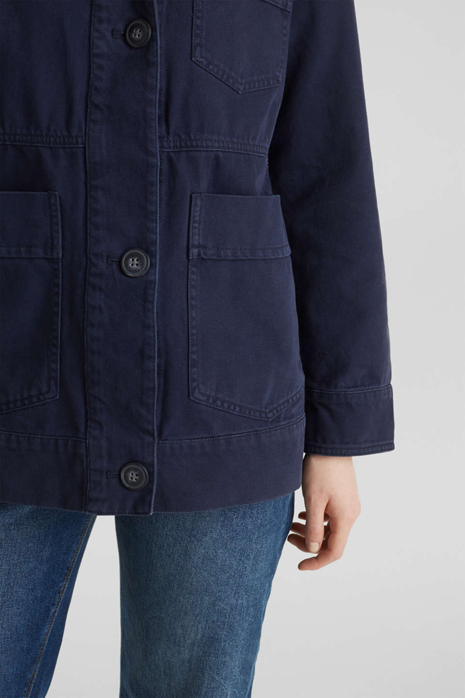 Worker jacket with pockets, 100% cotton, NAVY, detail image number 5