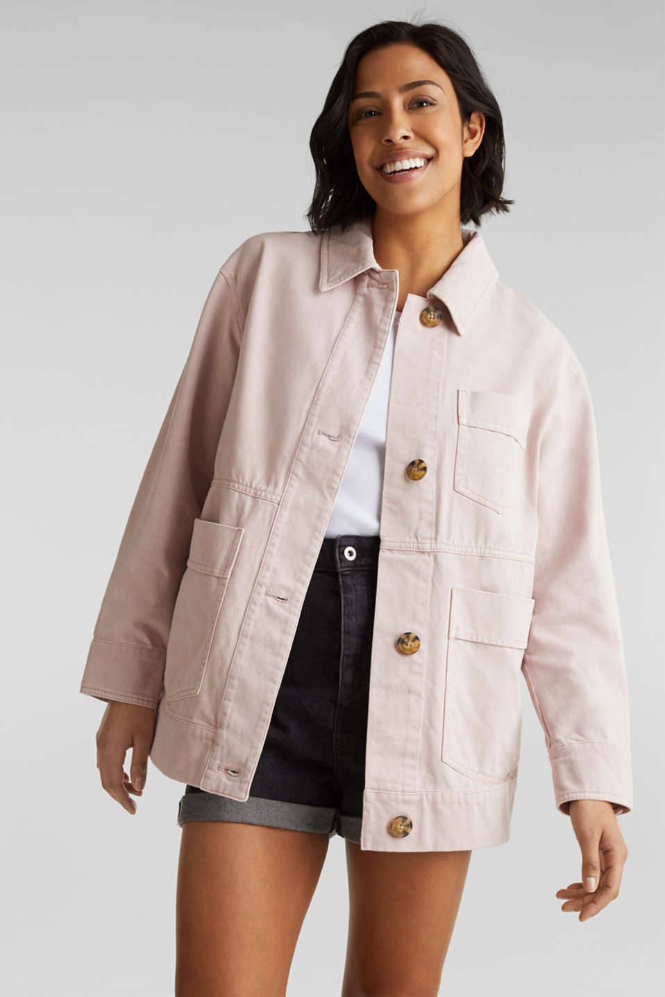 Worker jacket with pockets, 100% cotton, BLUSH, detail image number 0