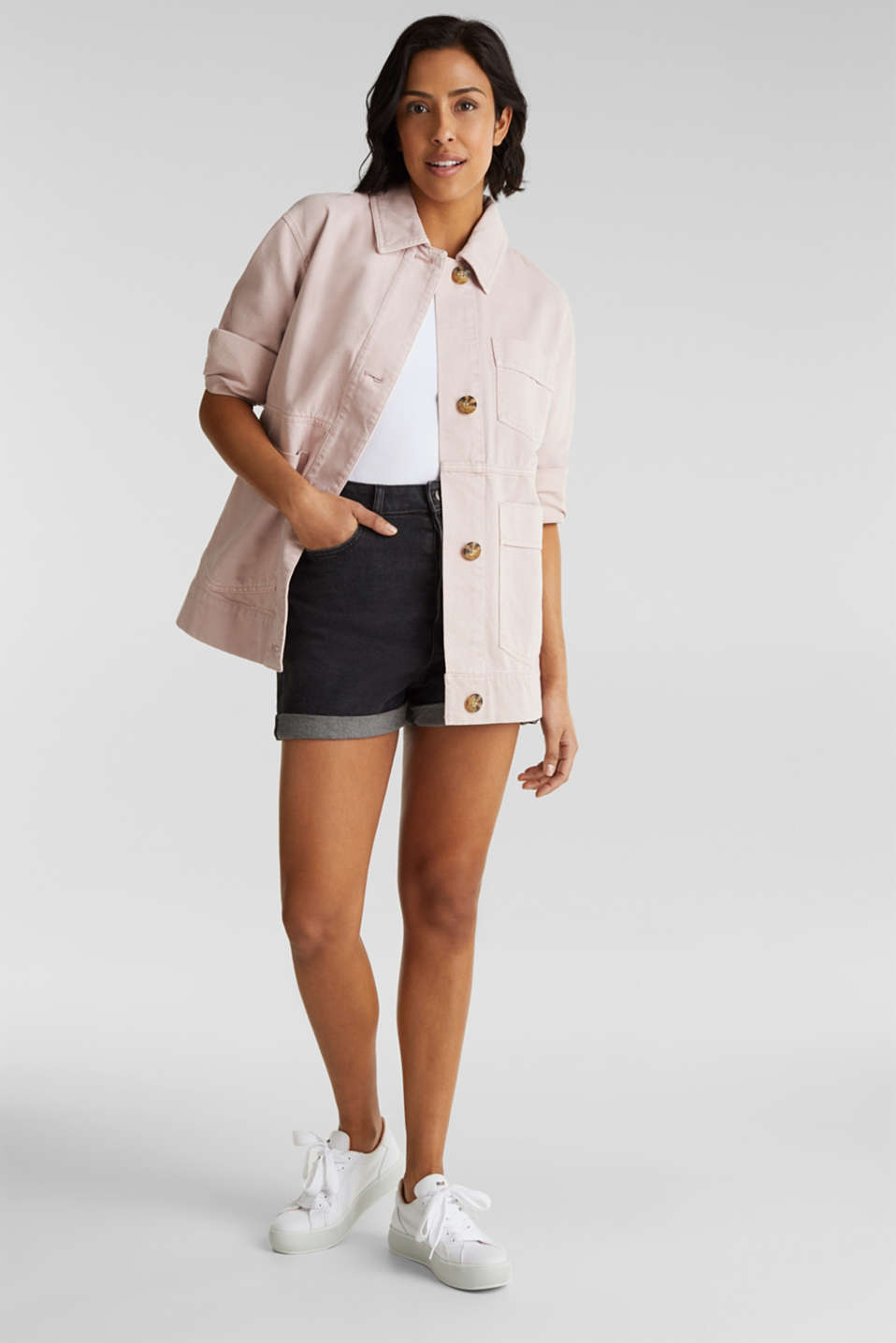 Worker jacket with pockets, 100% cotton, BLUSH, detail image number 1
